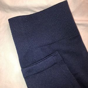 High-waisted navy leggings